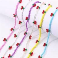 Ожерелье-чокер с цветными бусинами в виде вишни для женщин и девушек модное корейское ожерелье с радужными бусинами в виде фруктов 2021 тренд...