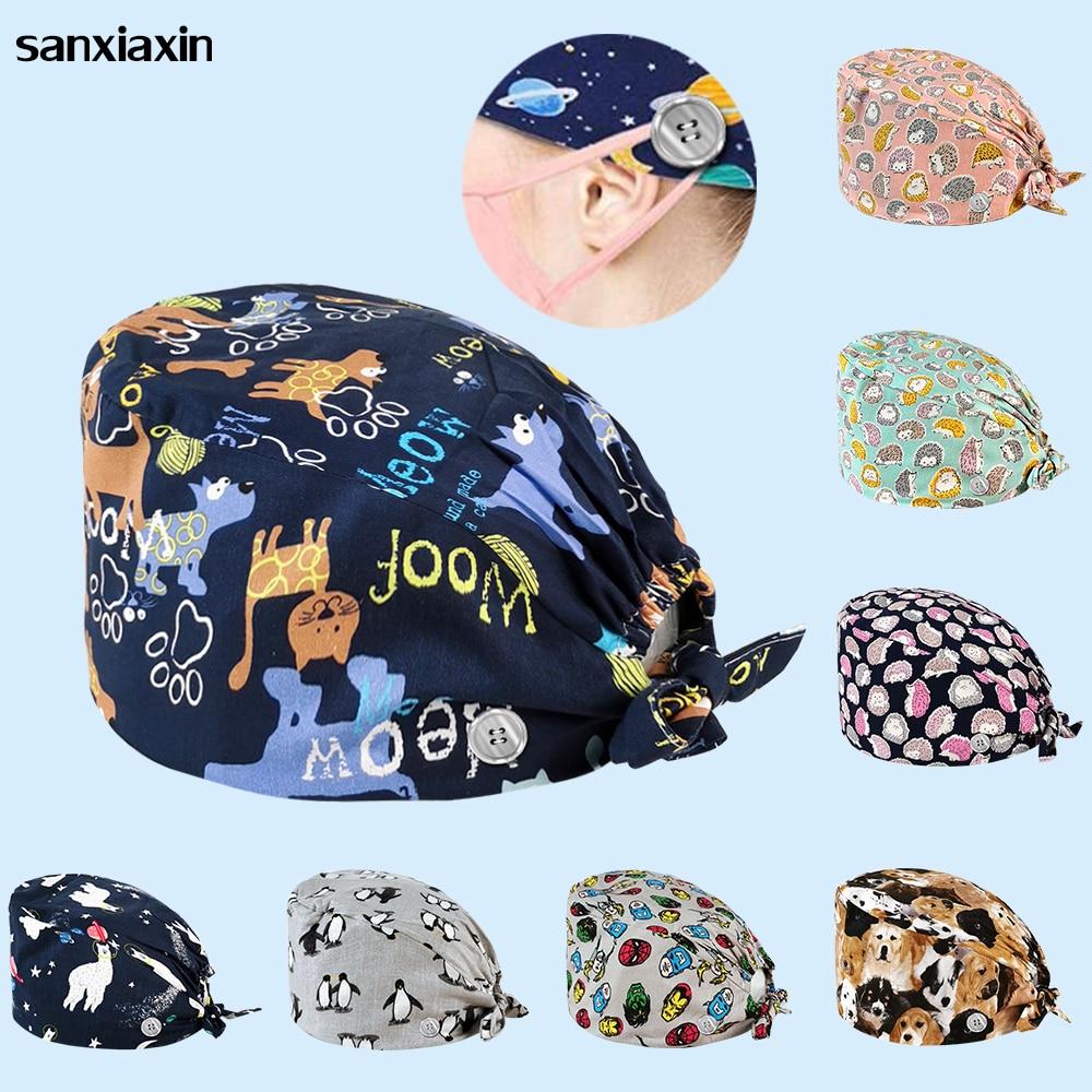 Sanxiaxin, alta calidad, algodón, estampado de Anime, gorro exfoliante ajustable, tienda de mascotas, spa, uniforme, sombreros, trabajo de salón de belleza, gorro exfoliante