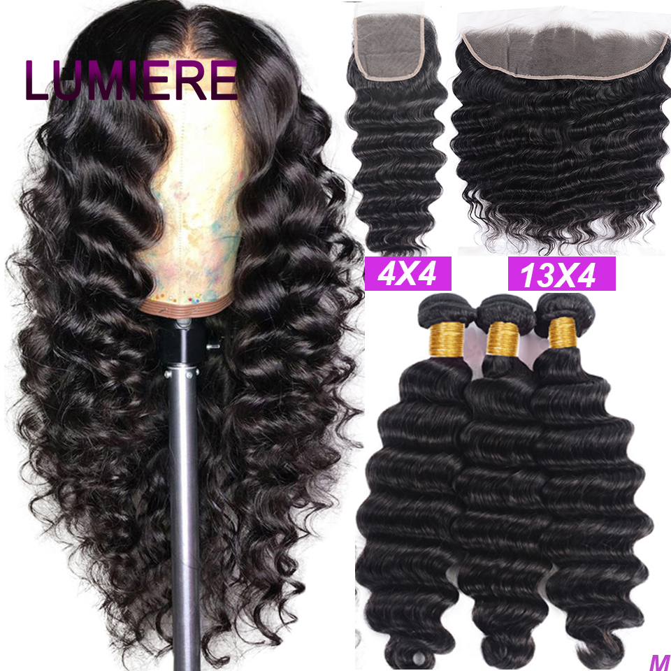 Lumiere Hair Loose Deep Wave Bundles with Closure Peruvian Hair Bundles with Closure Remy 100% Human Hair Bundles with Frontal