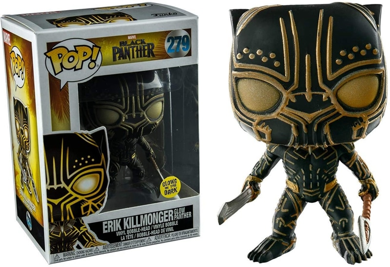 Exclusive Official Funko pop Marvel Black Panther - Erik Killmonger Glow In The Dark Vinyl Action Figure Collectible Model Toy