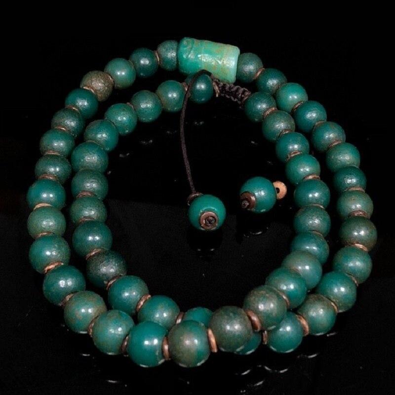 Joyeria, collar de joyería de moda, Gargantilla collier, antigua colección china de ágata Natural, collar de cuentas budistas de ágata verde