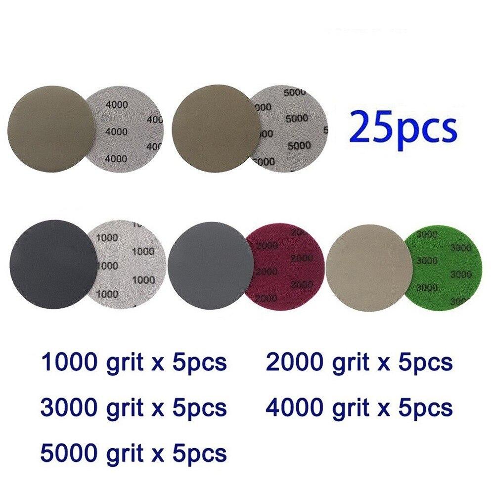 Наждачная бумага с крючком и петлей, 3 дюйма, 25 шт., 1000, 2000, 3000, 4000, 5000, круглые наждачные диски, наждачная бумага для шлифовки и полировки