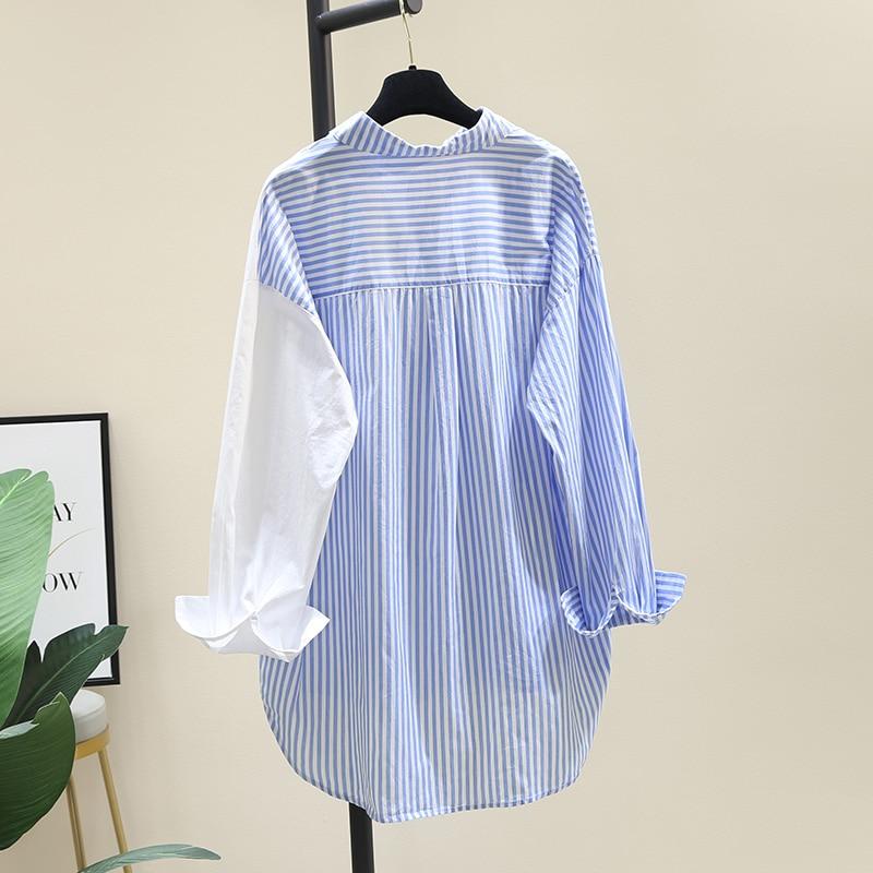 SuperAen المرقعة مخطط بدوره أسفل طوق كامل قميص المرأة الخريف 2021 موضة جديدة فضفاضة رقيقة واقية من الشمس سترة