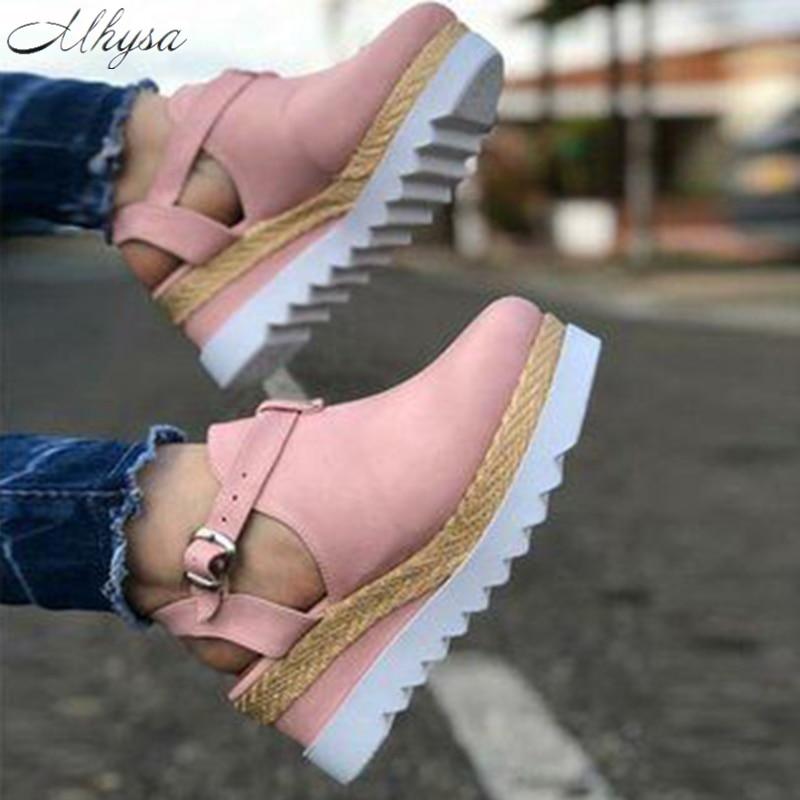 Sandalias de mujer a la moda de 2020, sandalias informales de lona Retro con cuña y punta redonda para mujer, zapatos individuales, sandalias, zapatos para mujer, nuevo aspecto