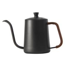 Pote de perfurador de mão de aço inoxidável boca longa boca fina pote de café pendurado pote de ouvido gotejamento-tipo coberto pote de bolha 600ml