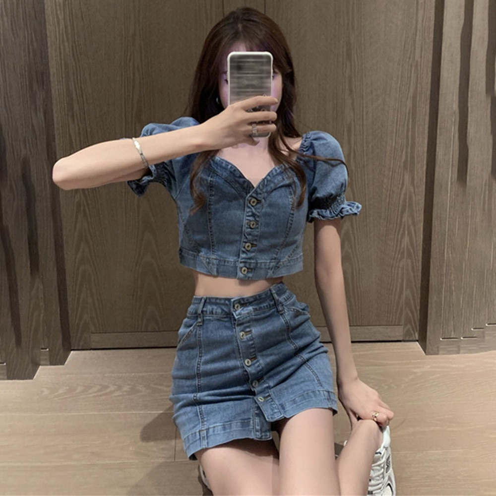 Women Sexy Cowboy Two Piece Sets Puff Sleeve Ruffle Blouse And Bodycon Denim Skirt Suit High Street