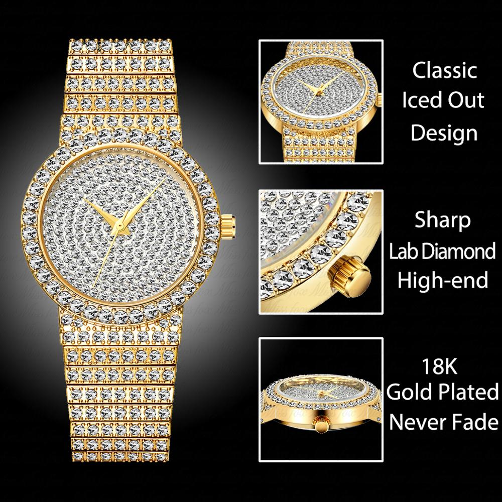 MISSFOX Women Watches Small Unique 18k Gold Luxury Brand Watch Women Diamond Waterproof Analog Classic Iced Out Watch For Gifts enlarge