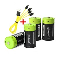 4 pces venda quente znter 6000 mah 1.5 v bateria recarregável usb tamanho d bateria recarregável com micro cabo usb para carregamento rápido
