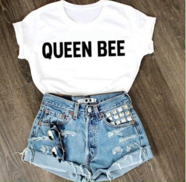 Queen Bee Tees mujer Streetwear camiseta blanca de verano de manga corta camisetas divertidas camisetas gráficas ropa de mujer nueva