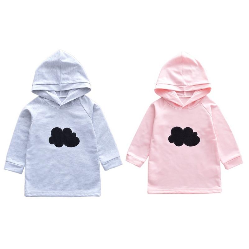 Herbst Kinder Baby Mädchen Cloud Print Hoodie Sweatshirts Kleid Casual Kleinkind Langarm Oberbekleidung Neue