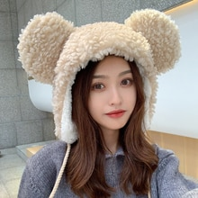 Women's Mickey big ears plush earmuffs to keep warm and thick autumn and winter black and white Russ