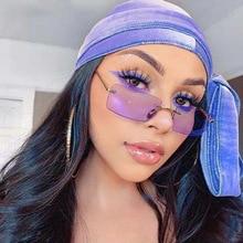 Oversized Rimless Sunglasses Women New Luxury Brand Square Sun Glasses Fashion Flat Top Color Clear