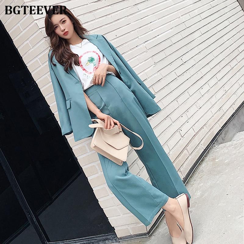 Trajes de pantalón de mujer elegantes chaqueta de un botón y pantalones de cintura elástica ropa de trabajo trajes de Blazer de mujer 2019 otoño 2 piezas