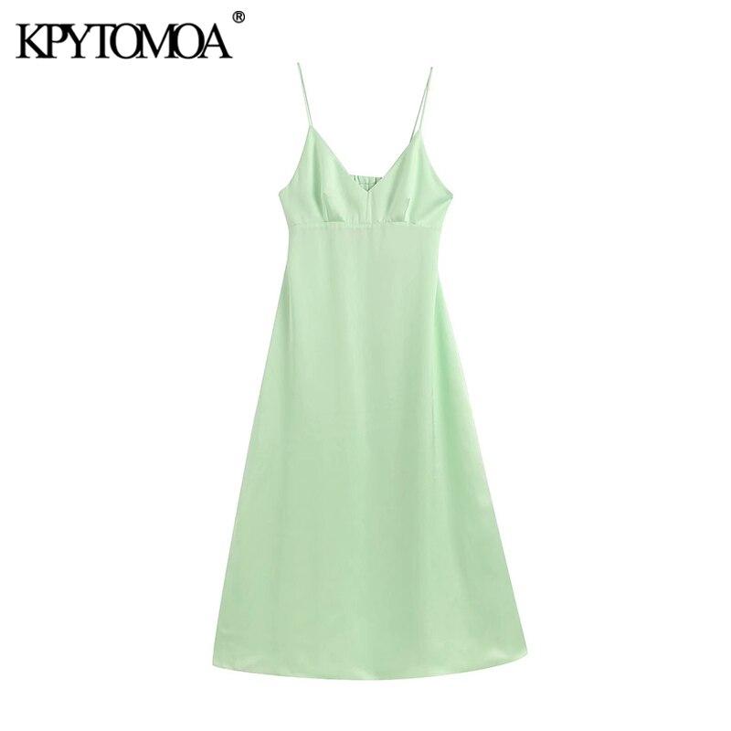 Kpytomoa vestido midi vintage feminino, decote em v alça com elástico zíper costas abertas moda 2020 chique