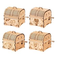 DIY Hand Crank Music Box Model 3D Wooden Puzzle Toy Self Assembly Wood Craft Kits Home Decoration fo