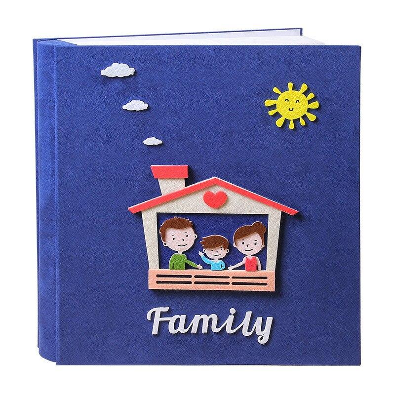 Álbum de fotos de cartón blanco, álbum de fotos de fieltro para niños, álbum de fotos de dibujos animados, álbum de fotos DIY, libro de recuerdos de crecimiento para niños