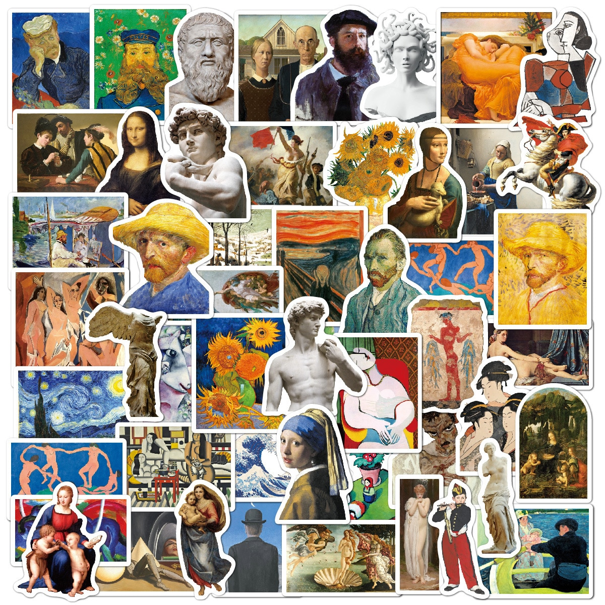 52 Piece Not Repeat Sticker Oil Painting Art Van Gogh Mona Lisa Stickers For Guitar Laptop Macbook Pro Luggage Skateboard Decals