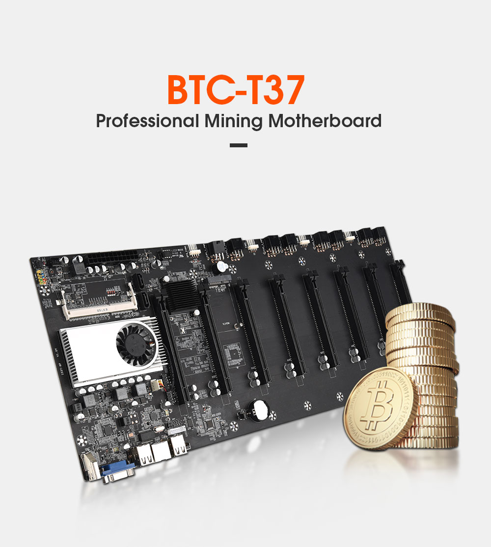 Mining Motherboard with CPU and FAN and Set 8 GPU Slots DDR3 Memory Integrated VGA Low Power Consumption Exquisite