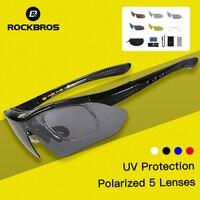 ROCKBROS Cycling Glasses 5 Lenses UV400 Cycling Glasses Bicycles Ciclismo goggles Polarized Sports Glasses Bike Eyewear Myopia