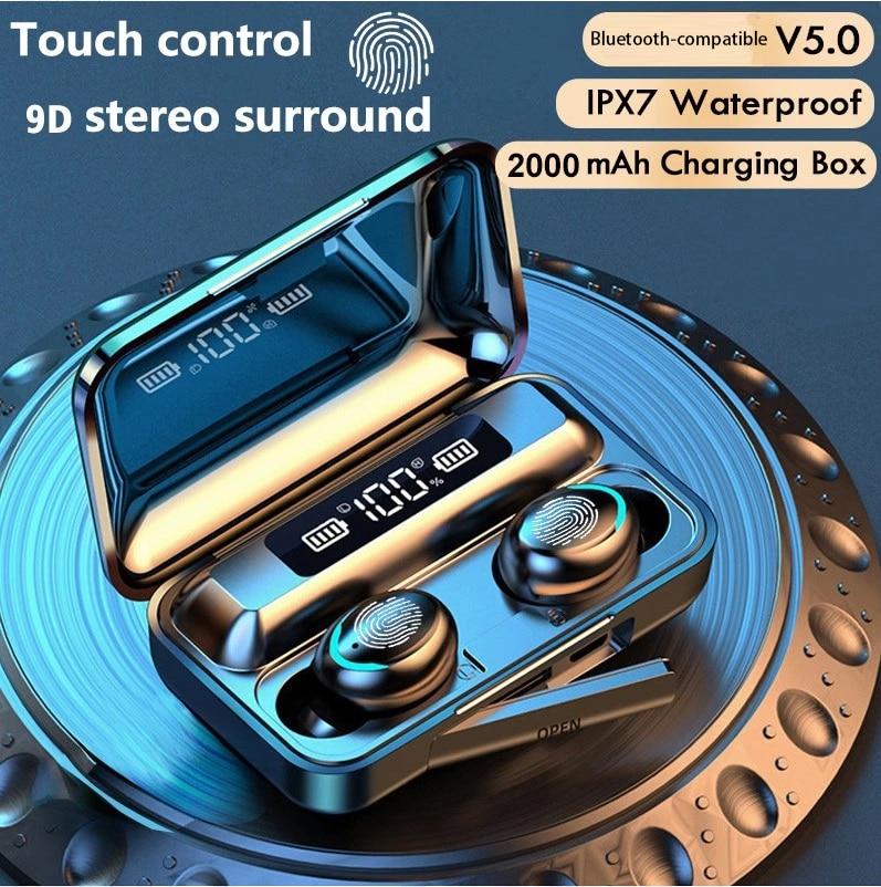 TWS Earphones Charging Box Wireless Headphone Bluetooth-compatible 9D Stereo Sports Waterproof Earbu