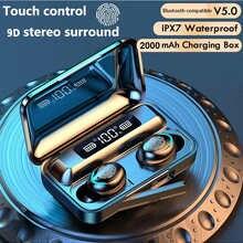 TWS-наушники с зарядным боксом; Беспроводные наушники; Bluetooth-совместимые; 9D стерео; Спортивные водонепроницаемые наушники; Гарнитура с микроф...