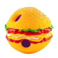 1pc 14cm hamburger sounding pet ball squeaky chew dog toy fun giggle natural non toxic rubber bite resistant outdoor toy