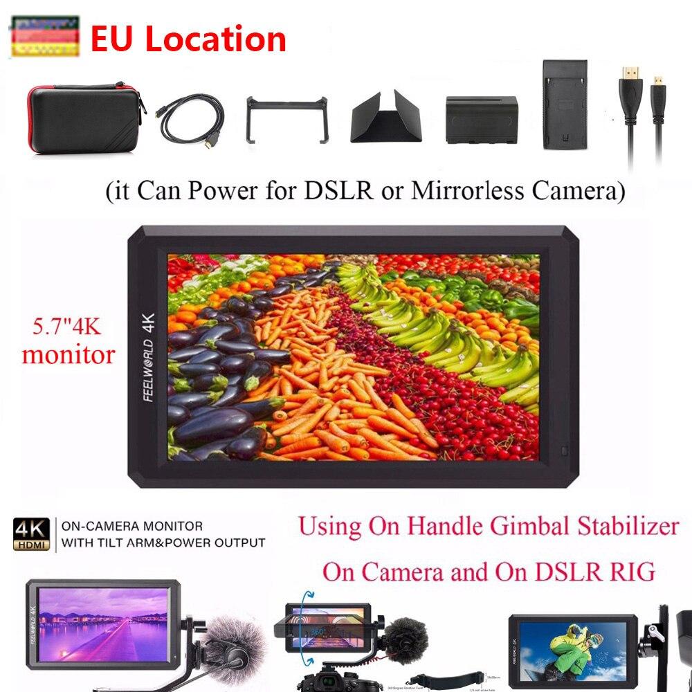 Ips-монитор Feelworld F6, 5,7 дюйма, 1920X1080, 4 K, HDMI, монитор для цифровой зеркальной камеры Sony, Canon, Nikon и т. Д., DSLR/беззеркальная камера