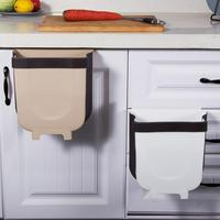 Folding Waste Bin Kitchen Cabinet Door Car Hanging Trash Can Wall Mounted Trashcan for Bathroom Toilet Waste Storage Bucket