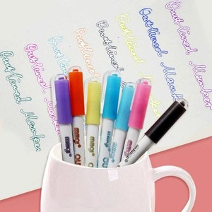 8Colors/box Gift Card Writing Drawing Marker Highlighter Stationery Double-line Outline Pen Art Signature School Office Supplies