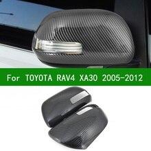 Dla TOYOTA RAV4 XA30 2005-2012 samochodów czarny z włókna węglowego ramka wykończeniowa na lusterko wsteczne 2006 2007 2008 2009 2010 2011
