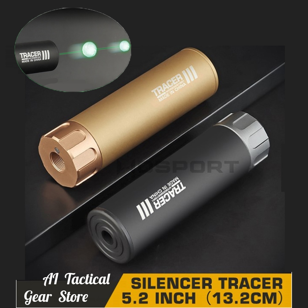 Tactical Airsoft Lighter Tracer Flash Silencer with Fluorescence Effect for War Game Airsoft Gun Shooting Lighter