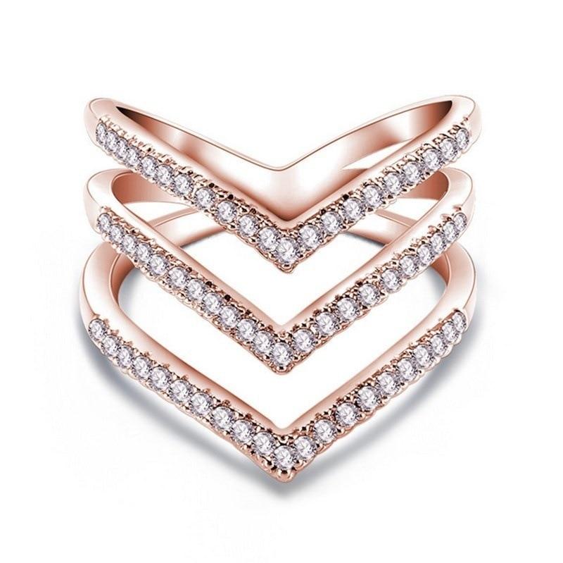 Anillo de circón en forma de V de tres capas y Color plateado, anillos de cheurón de estilo minimalista para boda, anillo de oro dorado/rosa, joyería