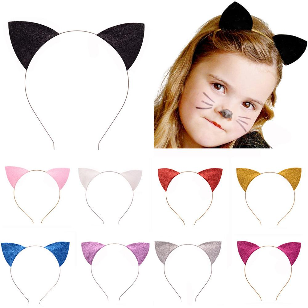 Grampo de cabelo pins feminino glitter sólido gatos orelhas bandana cosplay hairband disco ponto brilhante curvo chapéu pince cheveux femme 2019