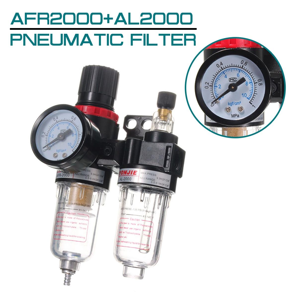 AFR2000+AL2000 Pneumatic Filter Compressor Reducing Valve Oil Water Separation Gauge G1/4