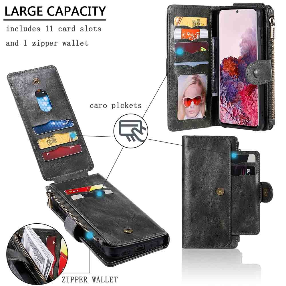 Retro Multifunction Wallet Case For Samsung Galaxy S20 Plus Ultra S10 S9 S8 Plus S10E Note 8 9 10 Pro Zipper Phone Case Cover