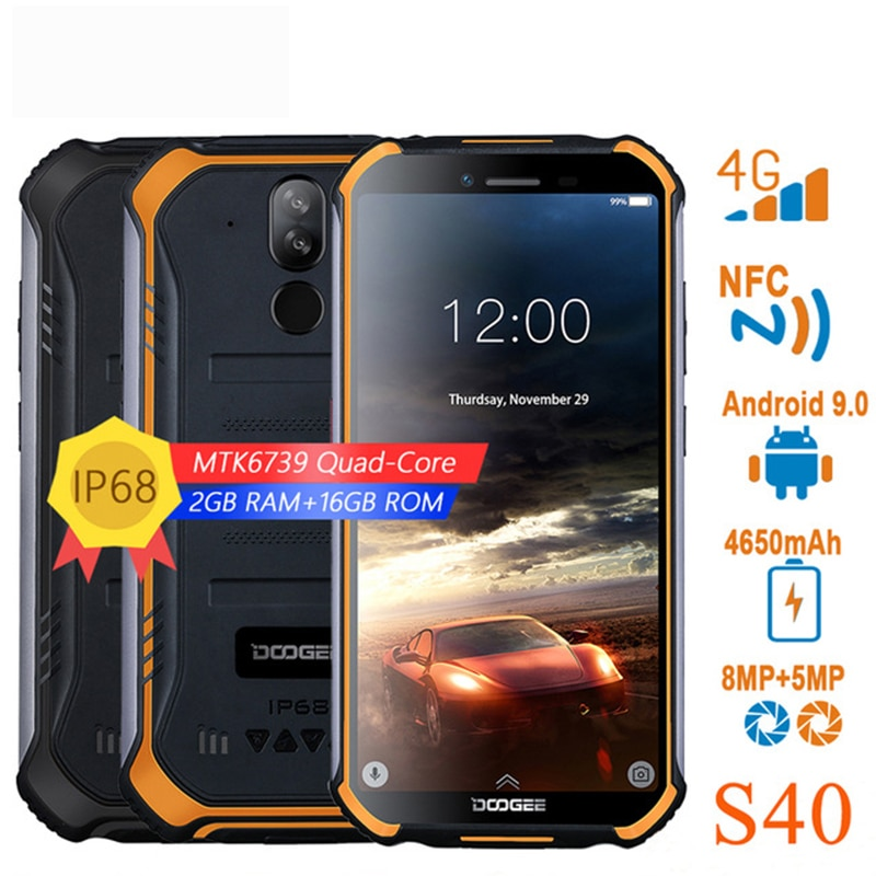 DOOGEE S40 4G Network Rugged Mobile Phone 5.5 inch IP68/IP69K 3GB RAM 32GB ROM Android 9.0MT6739 Quad Core 8.0MP Smartphone