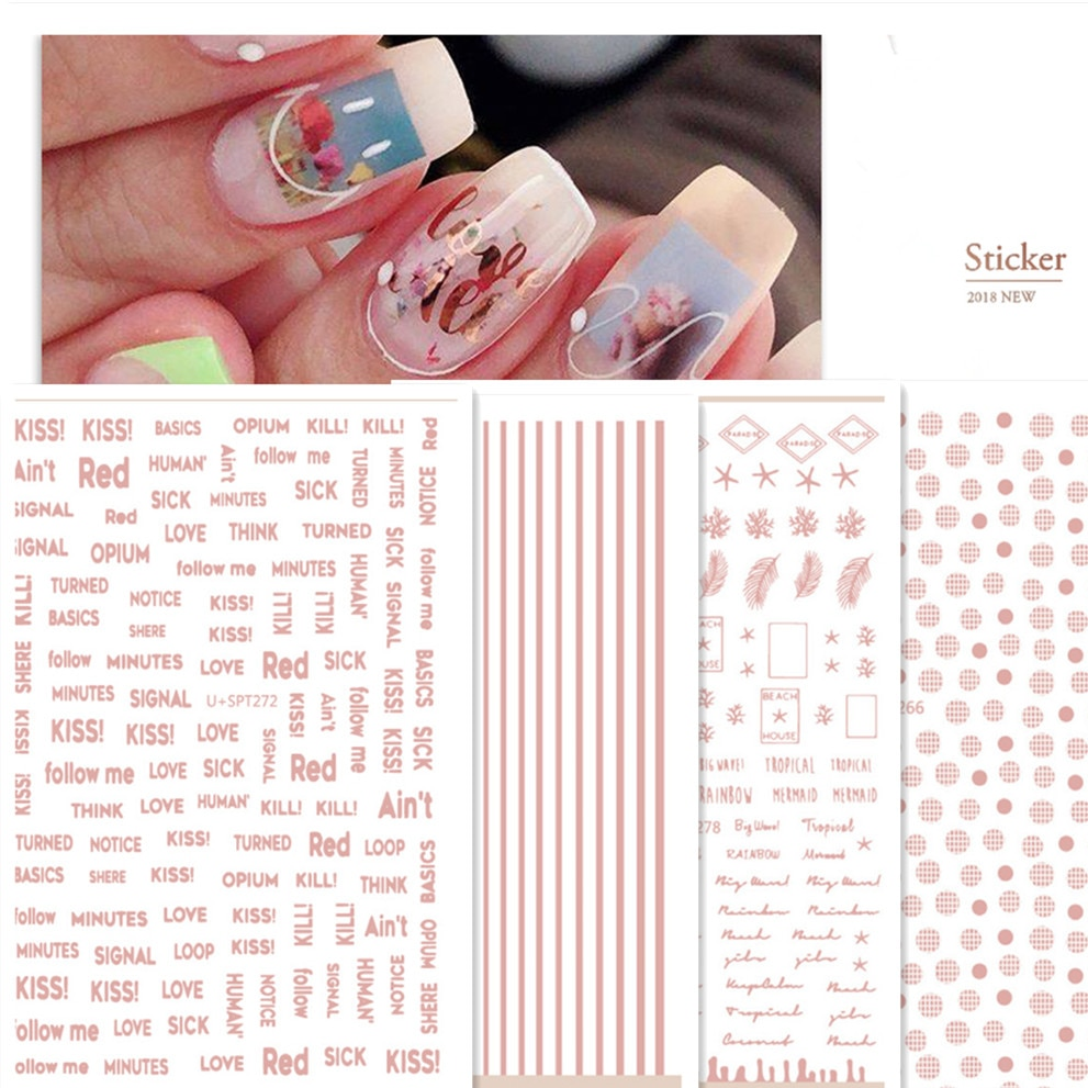 Newest U+SPT 278 pink gold color line design 3D nail art sticker decal stamping back gule DIY nail decoration tools