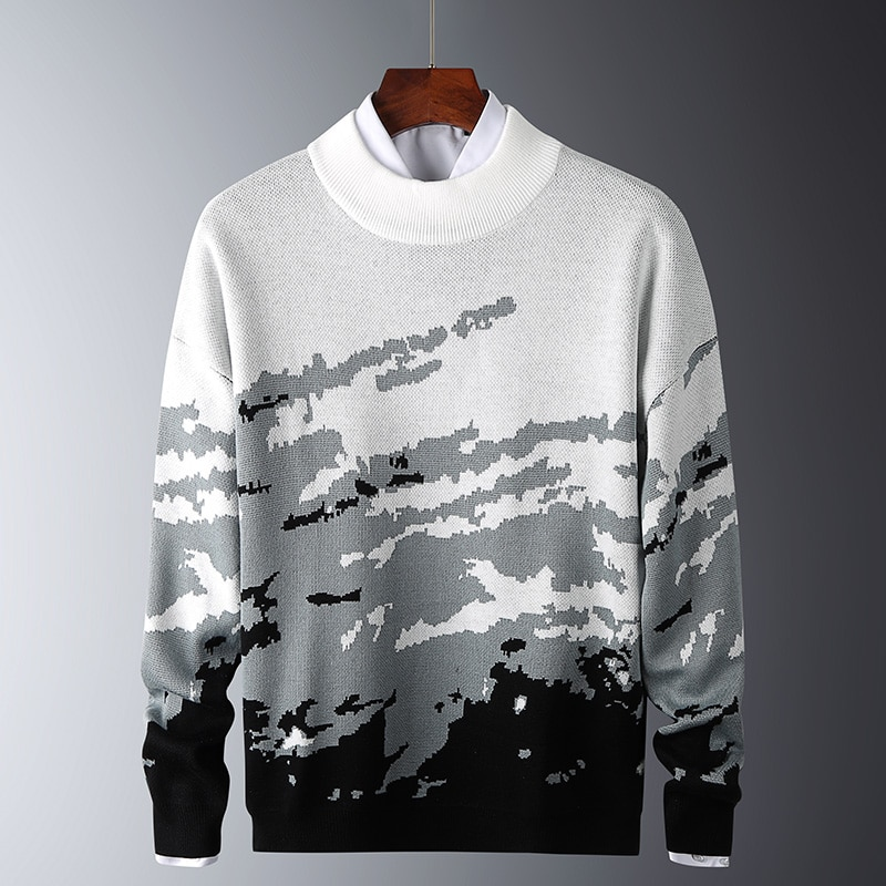 Harajuku Moutain Sweaters Mens Winter Ribbed Pullover White Black Knitted O-Neck Long Sleeves Thick Slim Sweater Men Soft Warm mens sweaters new classic simplicity pullover o neck sweater men long sleeves grey black teenagers sweaters