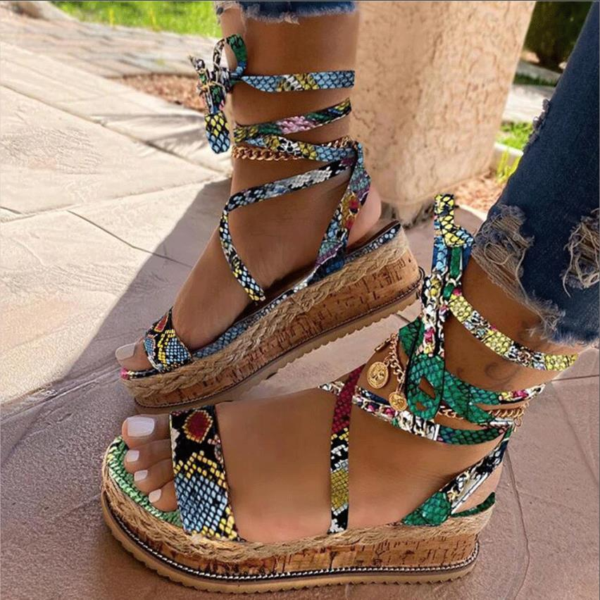 Women Sandals Summer Snake wedge shoes Ethnic Print Fashion Casual Lace Up Women Shoes Beach Ladies Plus Size shoes Sandals