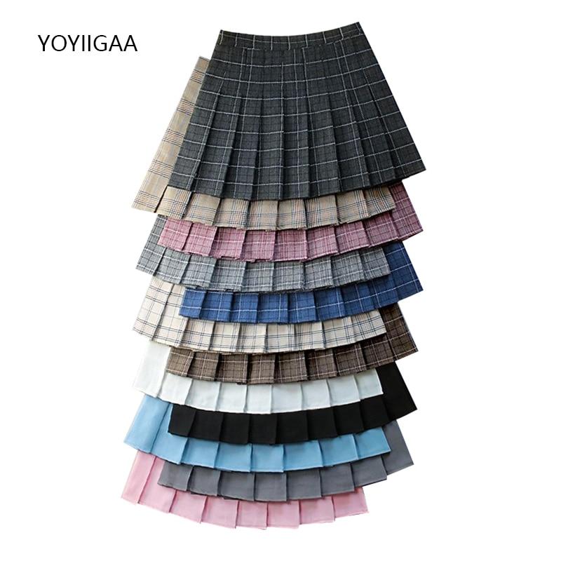 Summer Fashion Women Skirts Black Plaid Pleated Skirt High Waist A-Line Female Mini Skirts Cute Sweet Ladies Girls Dance Skirt