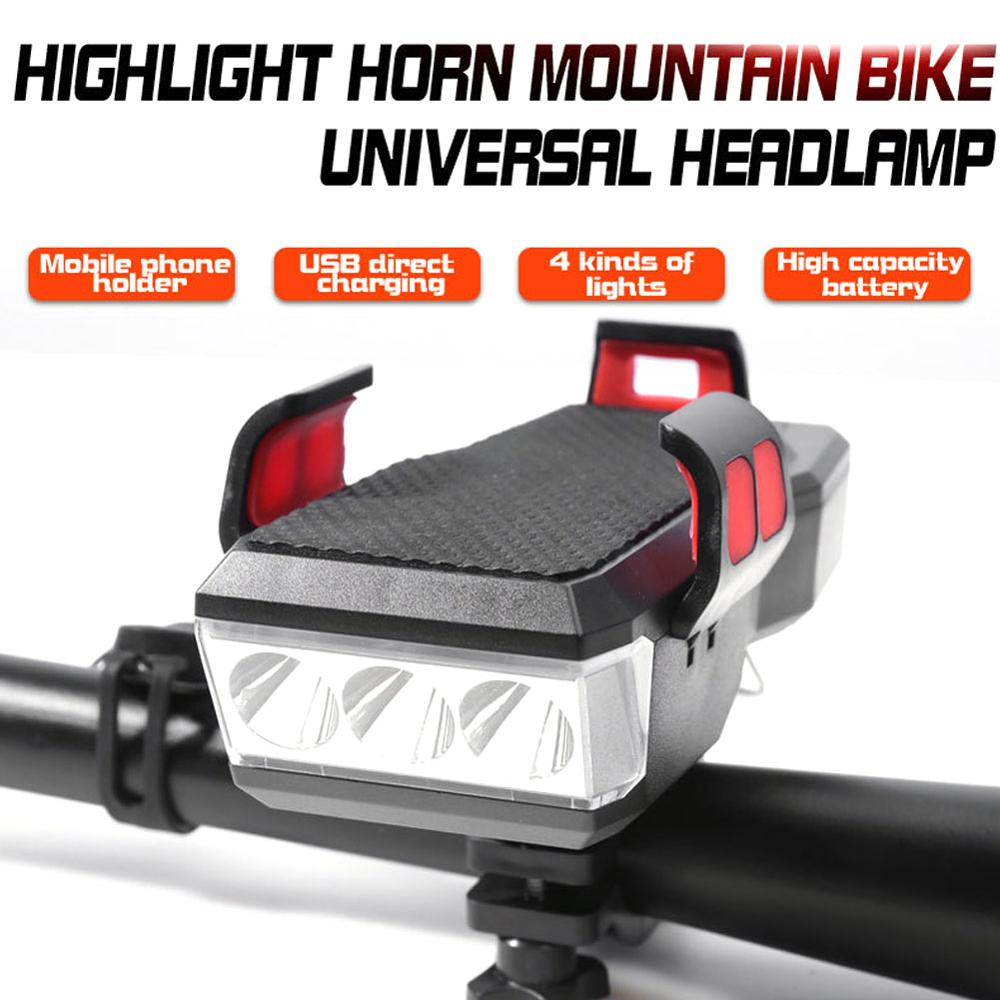 4 in 1 Bicycle Light LED Bike Front Light USB Rechargeable Power Banks Cycling Phone Stand Horn Mult
