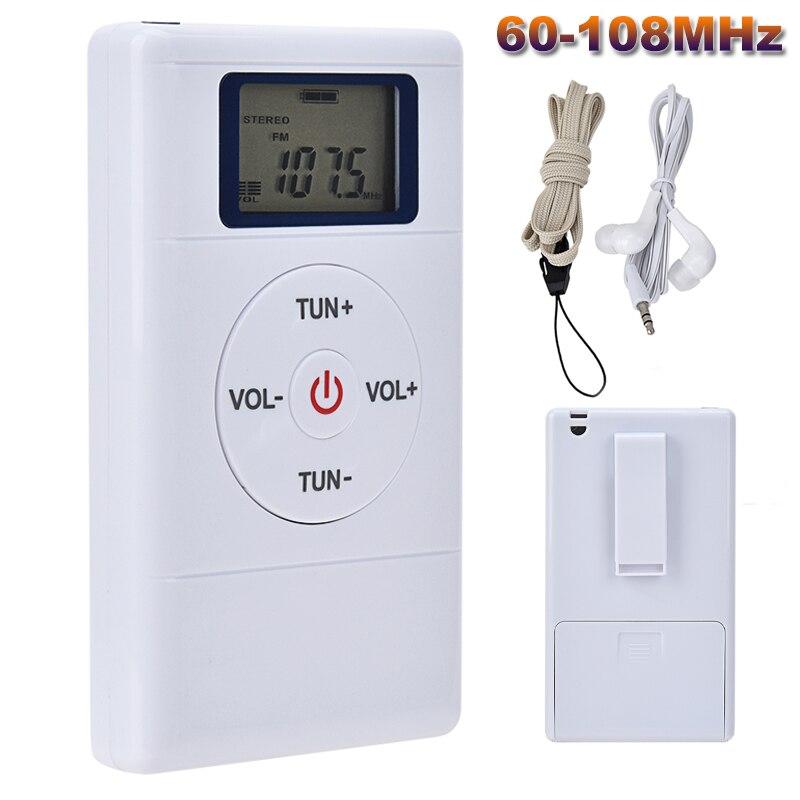 Mini Radio FM Portable 60-108MHZ DSP récepteur Radio avec écouteurs stéréo casque batterie Rechargeable récepteur