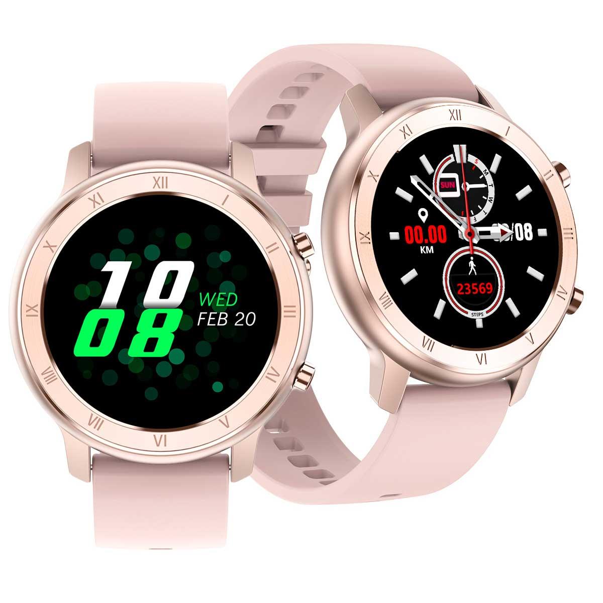 Reloj inteligente DT89, pantalla redonda HD rosa, IP67, resistente al agua, para mujeres, para predecir el período Menstrual, pulseras de Entrenamiento para mujeres