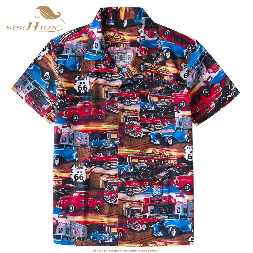 SISHION سيارات طباعة الرجال هاواي قميص ST124 واحدة الصدر خمر فاسق قصيرة الأكمام جيب الصيف 100% القطن قميص