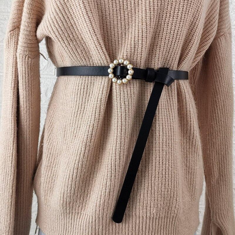 Ceintures en alliage doré pour femmes   Nouveau Design, ceinture à nœuds pour femmes, boucle de perles, sangle étroite en cuir PU, pull ceintures solide, robe jean pour filles
