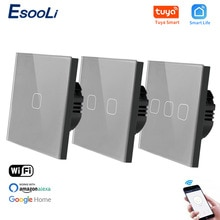 EsooLi EU Standard 1/2/3 Gang Tuya/Smart Life WiFi Wall Light Touch Switch for Google Home Wireless Control Touch Light Switch