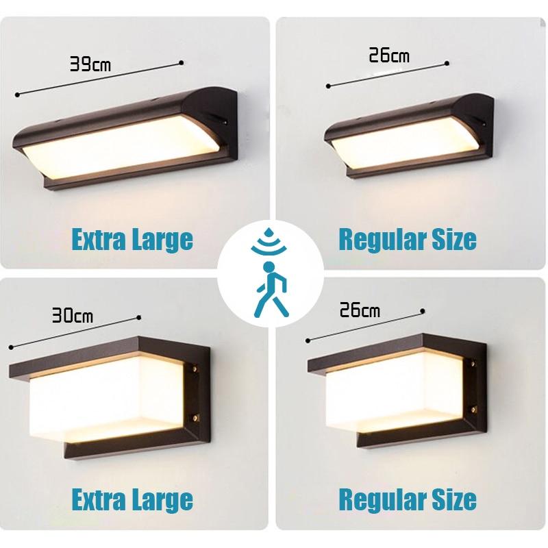 اضافية كبيرة LED في الهواء الطلق الجدار ضوء مقاوم للماء IP65 رادار استشعار الحركة led ضوء في الهواء الطلق الجدار مصباح إضاءة ليد خارجية