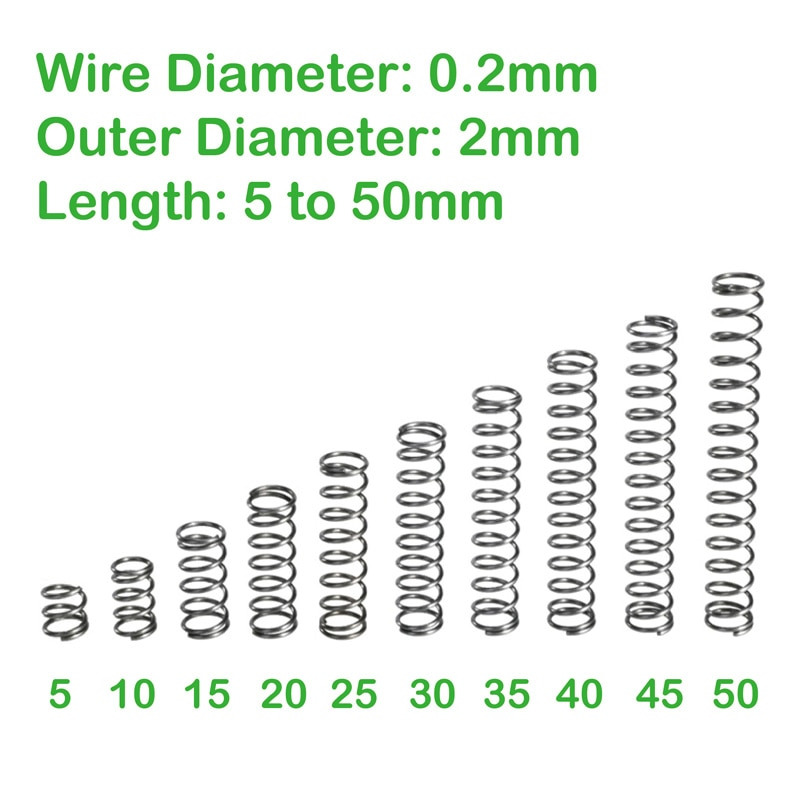 wire diameter 0.2mm outer diameter 2mm length 5mm to 50mm compression spring return small spring [vk] tocos lap axial length 50mm small angle 45 degrees 3pcs lot switches