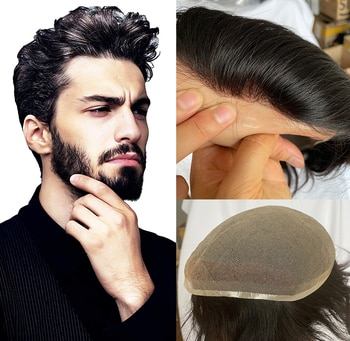100%European Human Hair Toupee For Men With Soft Super Fine Swiss lace 10x8
