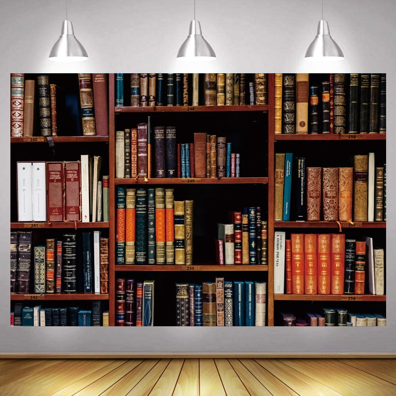 Shelving Bookcases Children's Library Photo Backdrop Happy Birthday Party Student Decoration Photography Backgrounds Banner